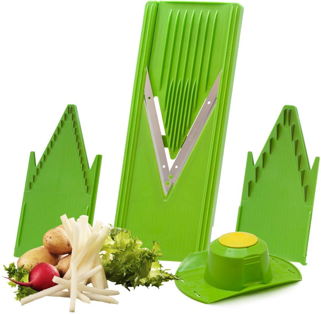 """Базовый комплект овощерезки «Классика» более 30 лет пользуется неизменной популярностью. Удобен, доступен. 12 видов нарезки. Проверенное годами безупречное немецкое качество. Корпус овощерезки выполнен из пищевого полистирола. Базовый комплект овощерезки «Классика» состоит из 5-ти предметов: • V-рама (в которую вставляются вставки) • Безножевая вставка (для шинковки капусты, нарезки из любых продуктов колечек, пластов и ломтиков) • Вставка с ножами 3,5 мм (для нарезки тонкой длинной или короткой соломки, мелких кубиков) • Вставка с ножами 7 мм (для нарезки длинных или коротких брусочков, крупных кубиков) • Безопасный плододержатель Все подробности и рецепты в приложенных инструкциях. Легендарная немецкая """"Тёрка Бёрнера"""" представлена в России с 1991 года и известна во всём мире своими великолепными острыми ножами с микросеррейторной заточкой и заводская гарантия на заточку ножей - это безупречная переработка 3-х тонн овощей. Вся продукция завода """"BORNER GmbH"""" - это эталон настоящего немецкого качества, безупречной надёжности и высоких мировых технологий: идеальный выбор для современной кухни.   На заводе «BORNER» делают запатентованные уникальные ножи-микросеррейторы и высокотехнологичные пресс-формы для отлива ударопрочных корпусов овощерезок. Заводская гарантия на заточку ножей слайсера – это безупречная нарезка трёх тонн овощей. Проверено миллионами покупателей – десять лет ножи не требуют заточки! «Бёрнер» – идеальный выбор для современной кухни, непревзойдённое немецкое качество."""