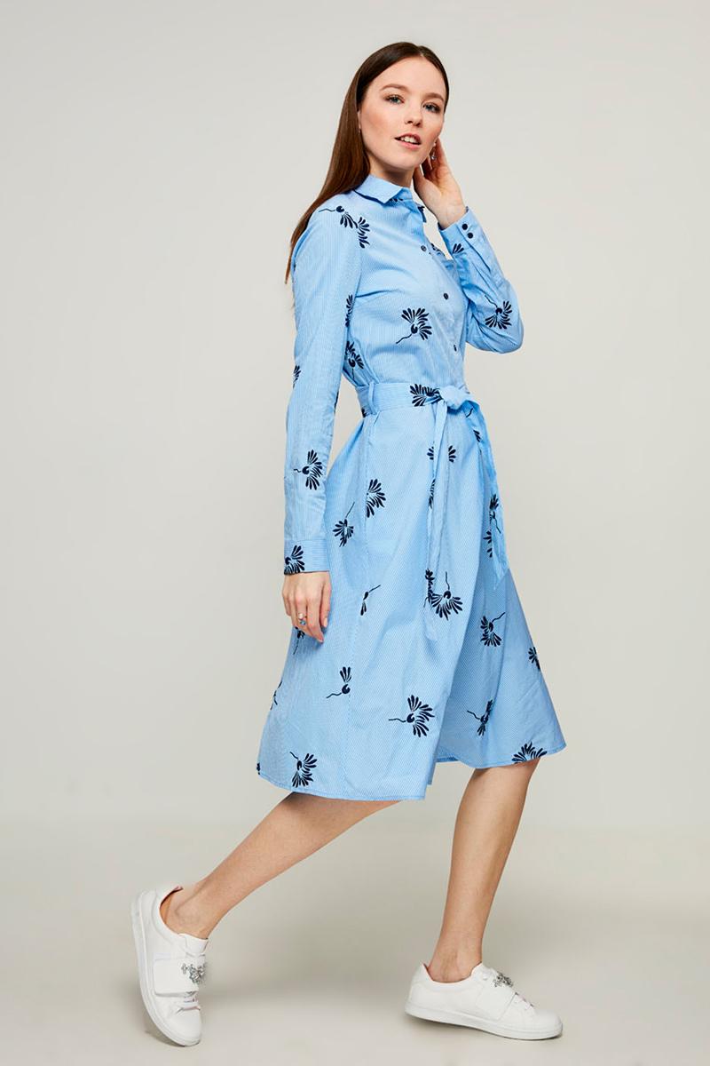 Платье Zarina, цвет: синий. 8123018518048. Размер 488123018518048Оригинальное платье-рубашка Zarina выполнено из натурального хлопка и оформлено принтом. Модель мини-длины с отложным воротником и длинными рукавами застегивается на груди на пуговицы. Изделие дополнено на талии поясом.