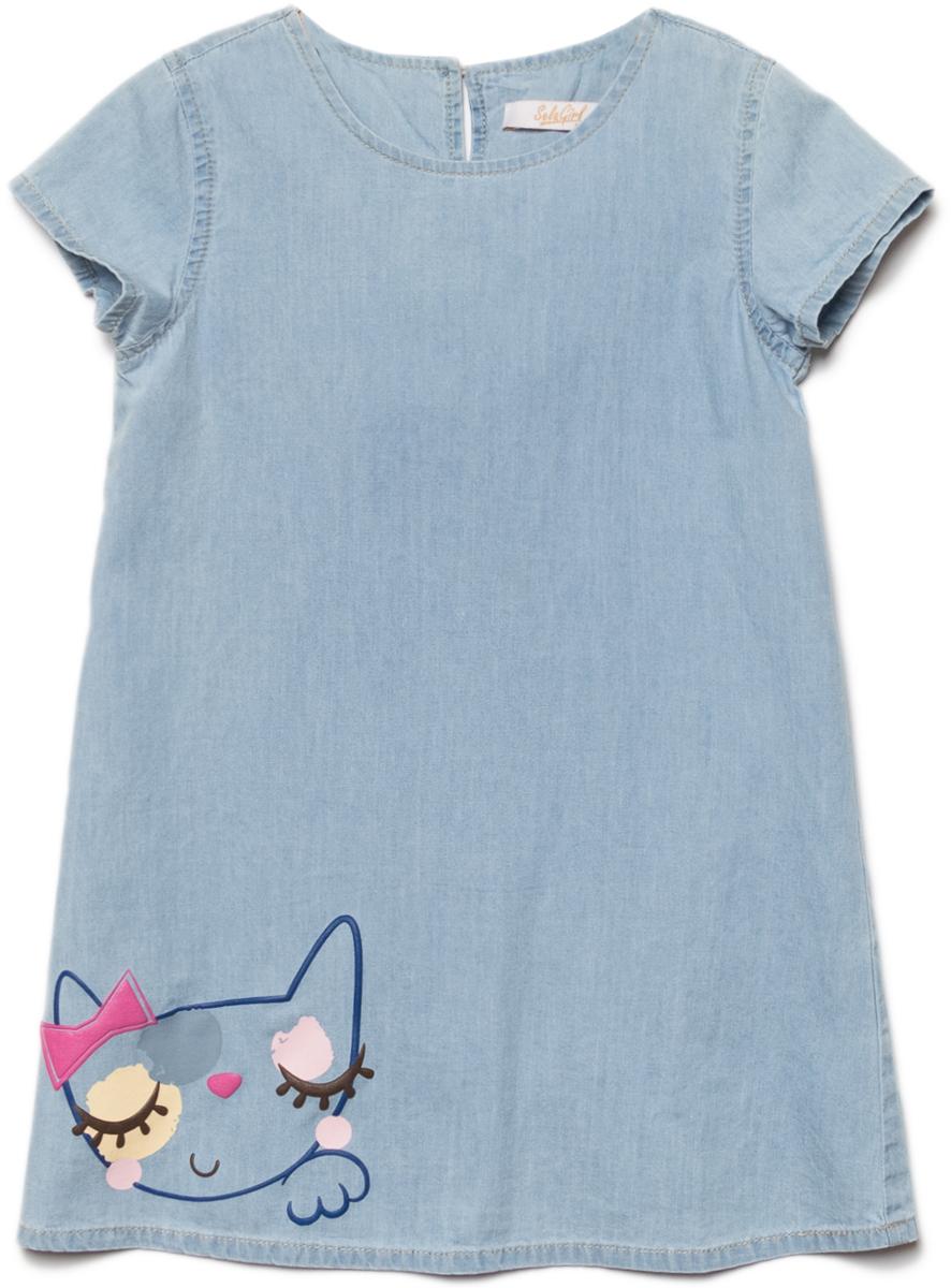 Платье для девочки Sela, цвет: голубой джинс. Djs-537/540-8112. Размер 92, 2 года
