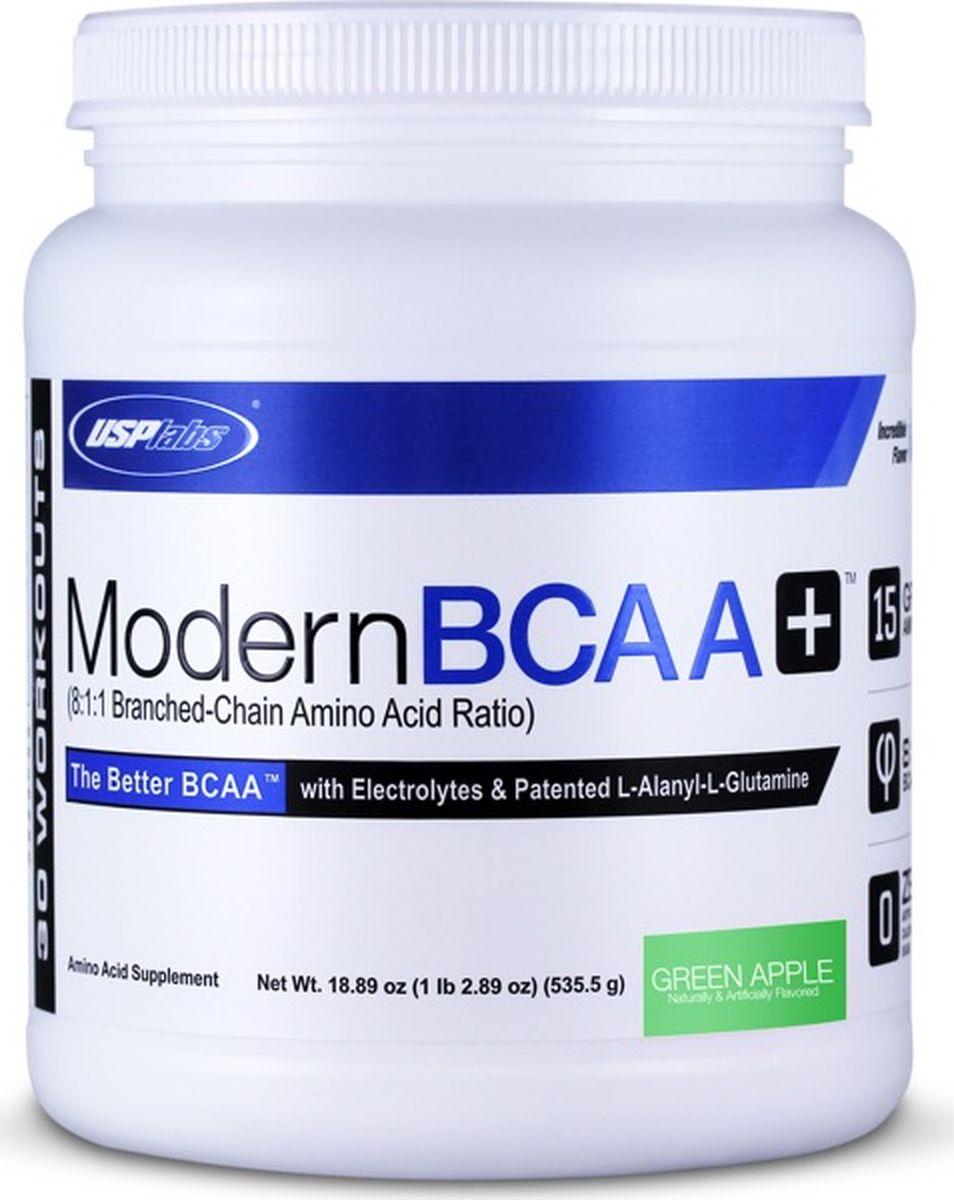 Комплекс аминокислот USPlabs Modern BCAA+ , зеленое яблоко, 535 г аминокислотный комплекс vplab bcaa 2 1 1 красный апельсин 500 г