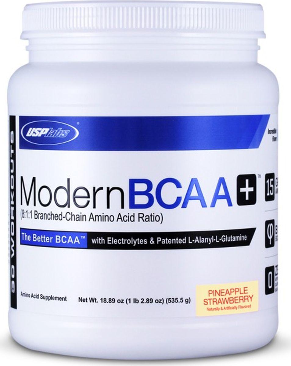 Комплекс аминокислот USPlabs Modern BCAA+ , ананас, клубника, 535 г аминокислотный комплекс vplab bcaa 2 1 1 красный апельсин 500 г