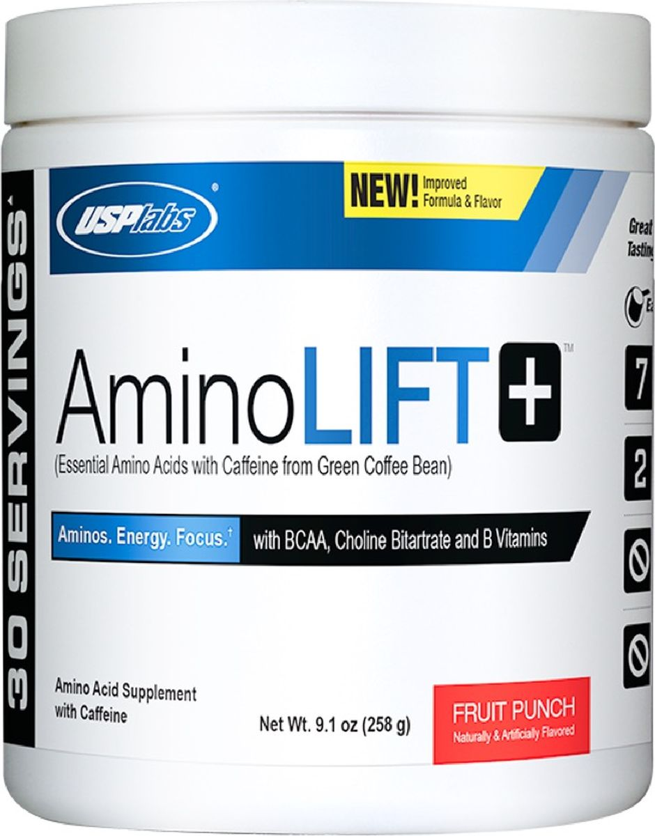 Аминокислоты USPlabs Aminolift, фруктовый пунш, 258 г46318Смесь незаменимых аминокислот, ноотропов, таких как кофеин, холин, экстракт зеленого чая и мате, а также витаминов группы В. Идеально подходит для любителей кроссфита, пауэрлифтеров и более хардкорных интенсивных тренировок.Состав:Натуральные и искусственные ароматизаторы, лимонная кислота, малиновая кислота, сукралоза, силикат кальция, диоксид кремния.