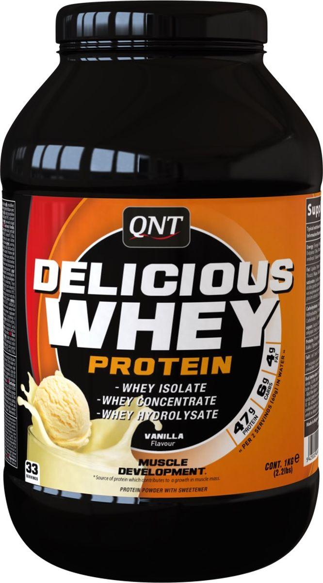 Протеин сывороточный QNT Delicious Whey Protein, ваниль, крем, 2,2 кг протеин многосоставной gnc whey protein complex с всаа и клетчаткой шоколад
