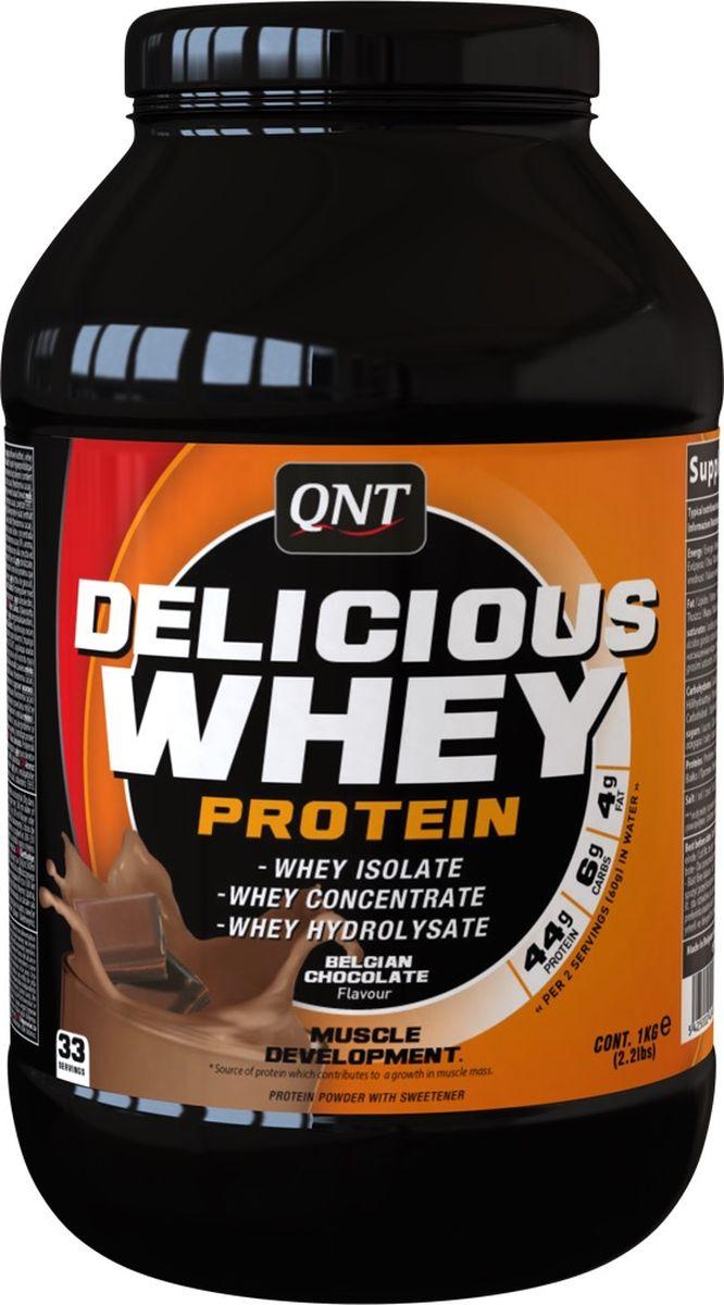 Протеин сывороточный QNT Delicious Whey Protein, шоколад, 2,2 кгQNT1070Протеин Delicious Whey Protein от QNT изготовлен из концентрата сывороточного белка, изолят белка и гидролизата белка высокого качества. Спортивная добавка содержит самые необходимые аминокислоты для наращивания мышечной массы и увеличения силовых показателей. Высокая концентрация белка с минимальным содержанием жиров и углеводов служит прекрасной основой для сбалансированной высокобелковой диеты.Как всем известно, белок – это главный строительный материал, а протеин Delicious Whey Protein является его отличным источником. Компания QNT разработала продукт, который специально предназначен для обеспечения спортсмена питательными веществами для максимального роста мышечной массы.По мнению многих специалистов, протеин Delicious Whey Protein является оптимальным соотношением цена/качество. Данный продукт отлично усваивается организмом и имеет хорошую растворимость. С помощью разработки специалистов QNT вы сможете сделать ощутимый шаг на пути к своей идеальной форме.Состав:Белки (концентрат сывороточного протеина, изолят сывороточного протеина, гидролизат сывороточного протеина), ароматизаторы, стабилизатор (E412 и E415), подсластитель (E955). Содержит молоко (включая лактозу).