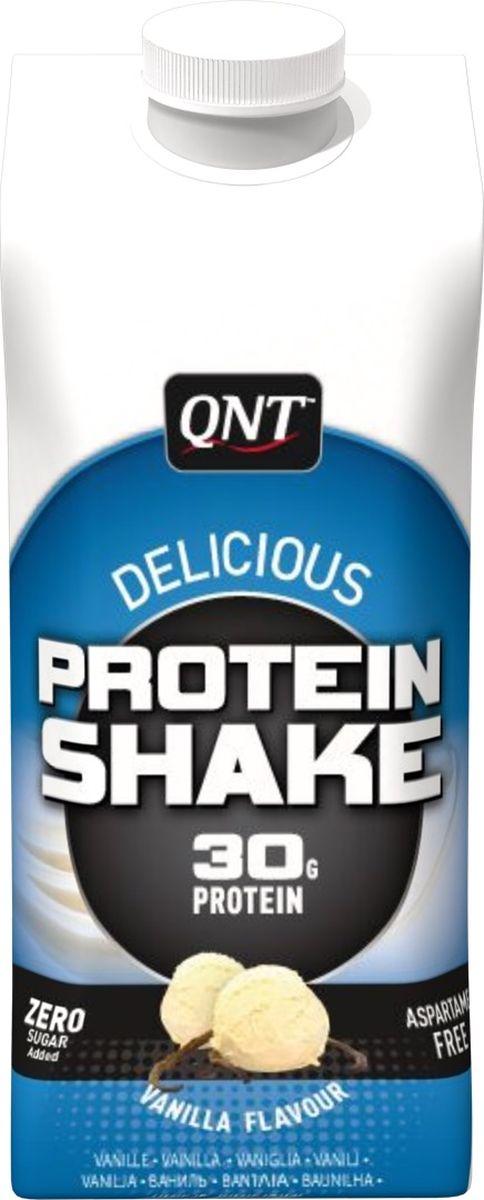 Протеиновый коктейль QNT Protein Shake, ваниль, 330 млQNT0890Богатые белками, практичного формата, коктейли Protein Shake в упаковке Tetrapak произведут революцию в вашем подходе к диете!Эти готовые к употреблению коктейли с соломинкой просто кладутся в сумку и пьются, как только легкий голод даст о себе знать. Таким образом, больше не нужно смешивать порошок на работе или в машине. Каждая упаковка Tetrapak содержит не менее 20 г белков. Вкусные и приятные, благодаря содержанию молока, они помогут Вам продержаться до следующего приема пищи!Состав:Сывороточный проницаемый, вода, белки 10% (концентрат молочного белка и концентрат сывороточного протеина), загустители (E460, E466 и E407), ароматизатор, стабилизатор (E452), подсластители (E952, E950 и E954), красители (E101). Содержит молоко (включая лактозу).