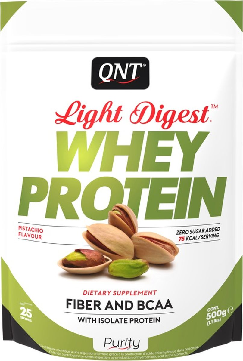 Протеин QNT Light Digest Whey Protein, фисташка, 500 г