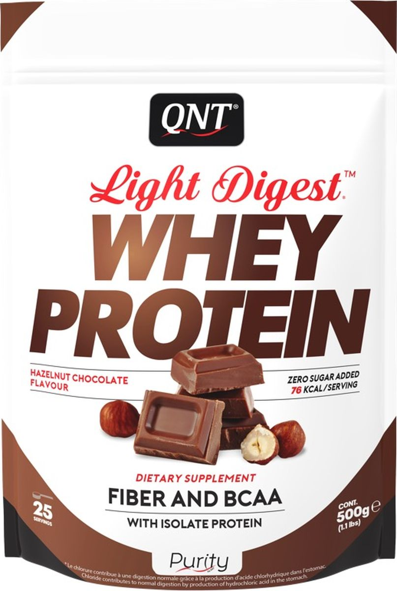 Протеин QNT Light Digest Whey Protein, шоколад, лесной орех, 500 г цена