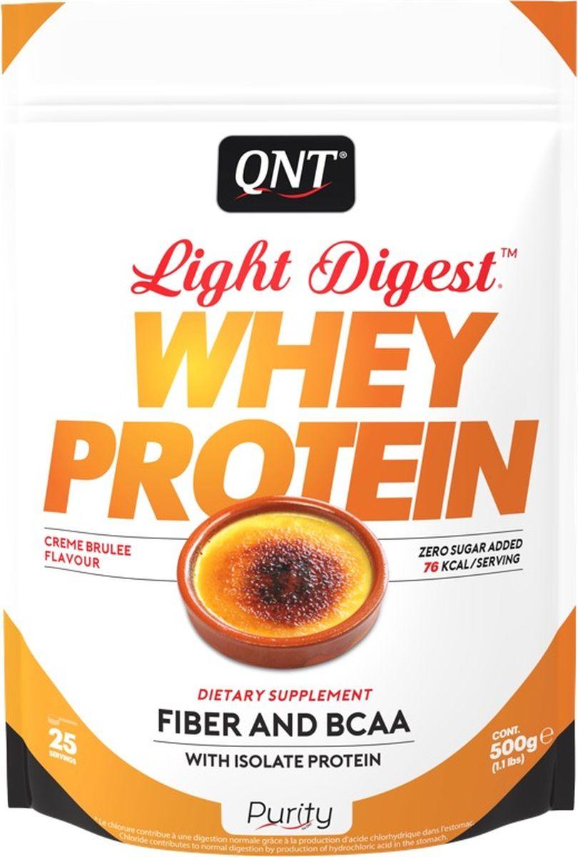 Протеин QNT Light Digest Whey Protein, крем-брюле, 500 гPUR0015Протеин QNT Light Digest Whey Protein - это новое поколение белковых порошков, в основе которых присутствует сывороточный протеин. Легкий, быстро усвояемый, может быть использован в любой программе как для мышечного тонуса, так и для похудения или восстановления.Light Digest Whey Protein можно смешивать с молоком или водой, он будет одинаково вкусный и легко усвояемый, благодаря инулиновым волокнам и сыворотке изолята. Продукт не содержит глютен.Состав:Молочные белки (концентрат сывороточного белка (содержит молоко), изолят сывороточного белка (содержит молоко), инулин, ароматизатор, загустители (E412 / E415), хлорид калия, подсластитель (E955), натуральный лимонный порошок. Как повысить эффективность тренировок с помощью спортивного питания? Статья OZON Гид