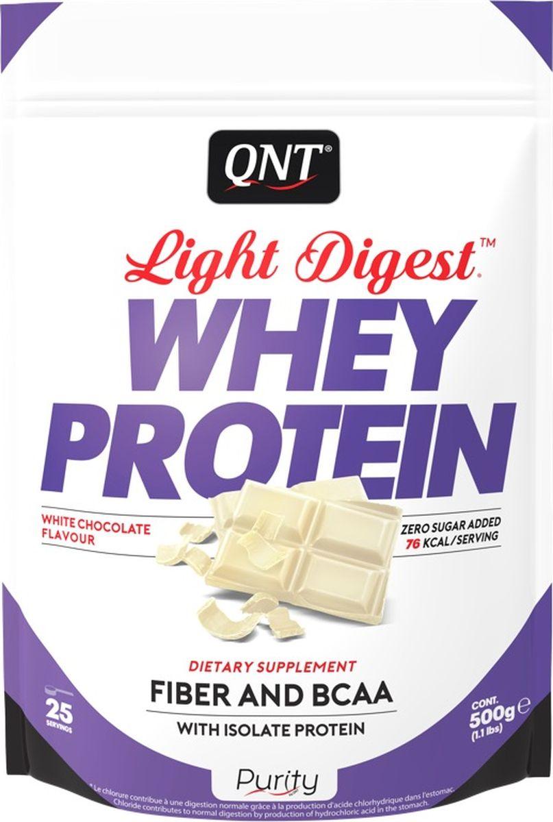 Протеин QNT Light Digest Whey Protein, белый шоколад, 500 г протеин qnt белковая смесь easy body protein банан клубника 350 г