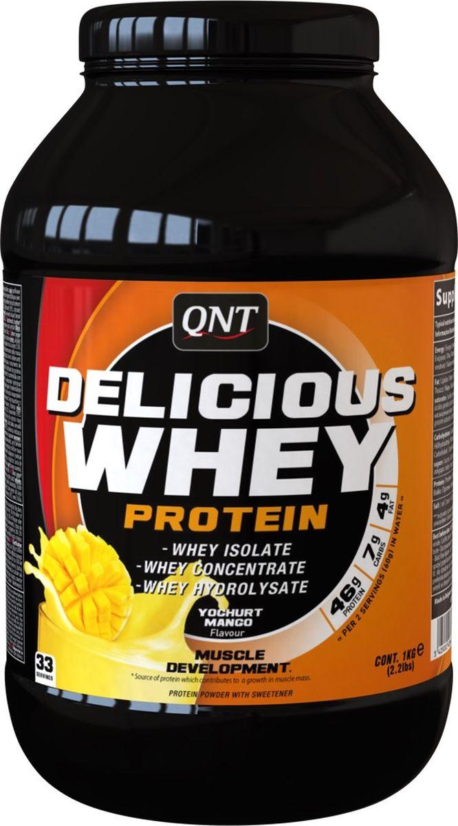Протеин сывороточный QNT Delicious Whey Protein, йогурт, манго, 1 кг протеин qnt белковая смесь easy body protein банан клубника 350 г