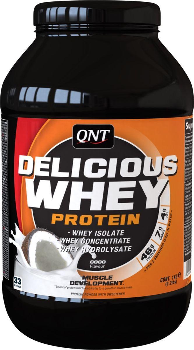 Протеин сывороточный QNT Delicious Whey Protein, кокос, 2,2 кг протеин qnt белковая смесь easy body protein банан клубника 350 г