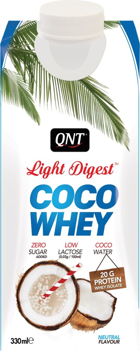 Протеин QNT Coco Whey Light Digest, натуральный кокос, 330 мл whey isolate