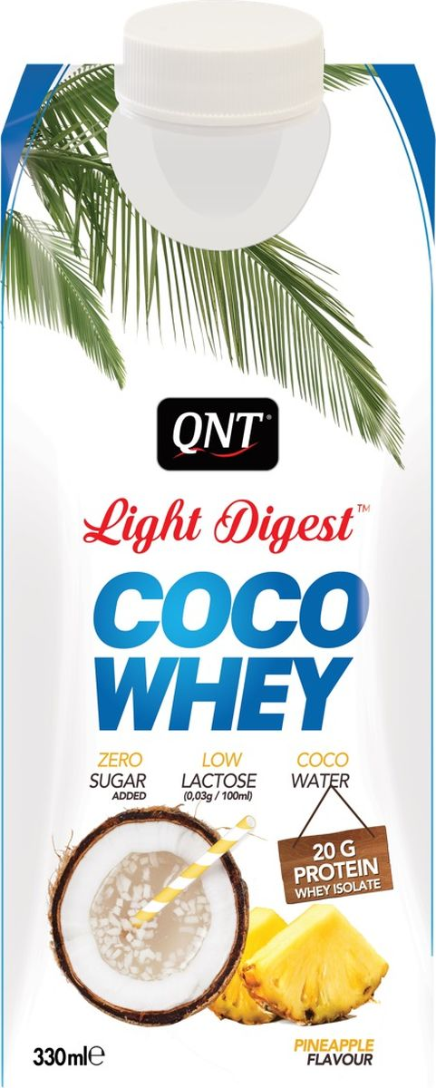 Протеин QNT Coco Whey Light Digest, ананас, натуральный кокос, 330 мл
