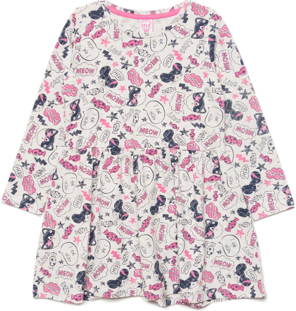 Платье для девочки Sela, цвет: светло-серый меланж. DK-517/432-8121. Размер 110, 5 лет