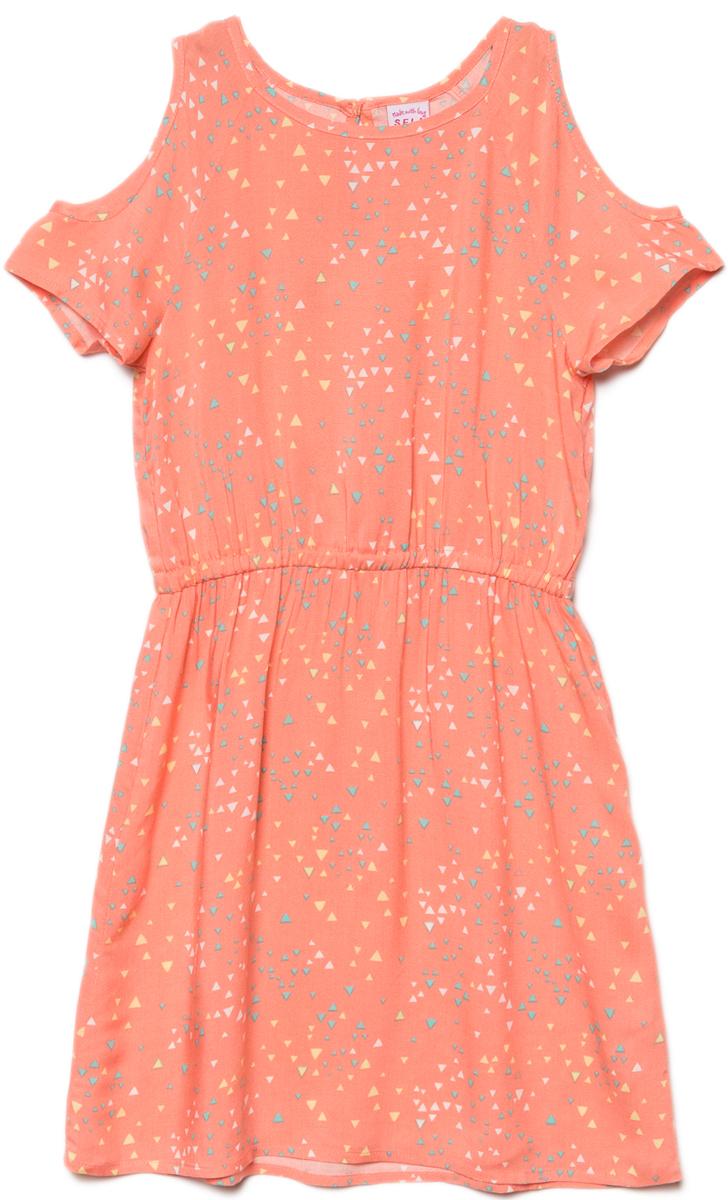 Платье для девочки Sela, цвет: персиковый. Ds-617/892-8243. Размер 152, 12 лет сарафан для девочки sela цвет мультиколор dsl 617 893 8243 размер 152 12 лет