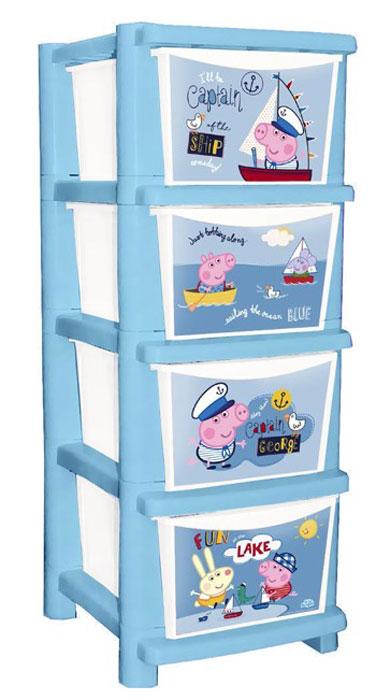 Комод детский Little Angel Свинка Пеппа. Captain George, цвет: синий, белый, 4 ящикаLA3707РР-НКЯркий и функциональный комод с любимыми героями станет украсит детскую комнату. Четыре удобныхвыдвижных ящика для вещей и игрушек помогут поддерживать порядок сначала маме, а потом и растущему малышу. Обучающий декор расскажет о смене времен года, а семья свинок поднимет настроение в любую погоду. Комод имеет простой и надежный механизм сборки, и супер устойчивую конструкцию. Литые ящики выдерживают большие нагрузки, каждый ящик снабжен удобной ручкой.