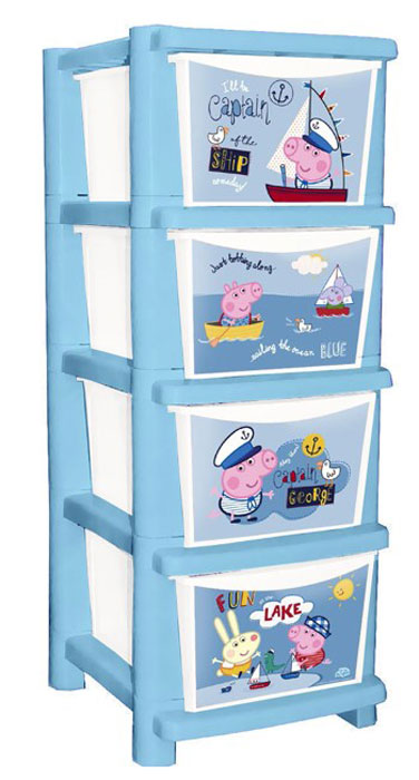 "Комод детский Little Angel ""Свинка Пеппа. Captain George"", цвет: синий, белый, 4 ящика"