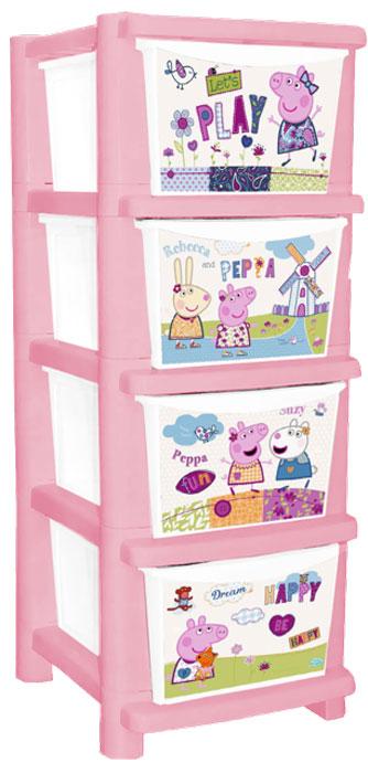 """Комод детский Little Angel """"Свинка Пеппа. Cute Peppa"""",  цвет: розовый, 4 ящика"""