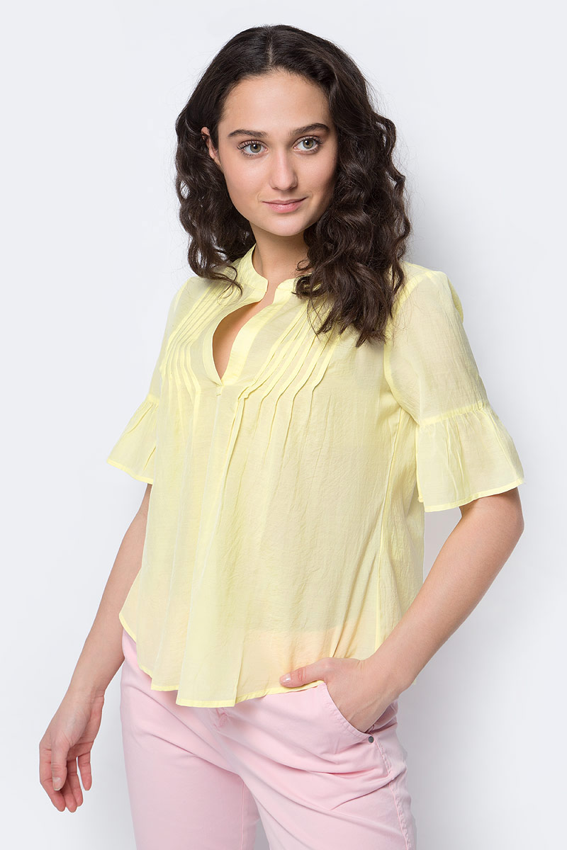 Блузка женская United Colors of Benetton, цвет: желтый. 5HZ85Q8W3_0H3. Размер L (46/48)