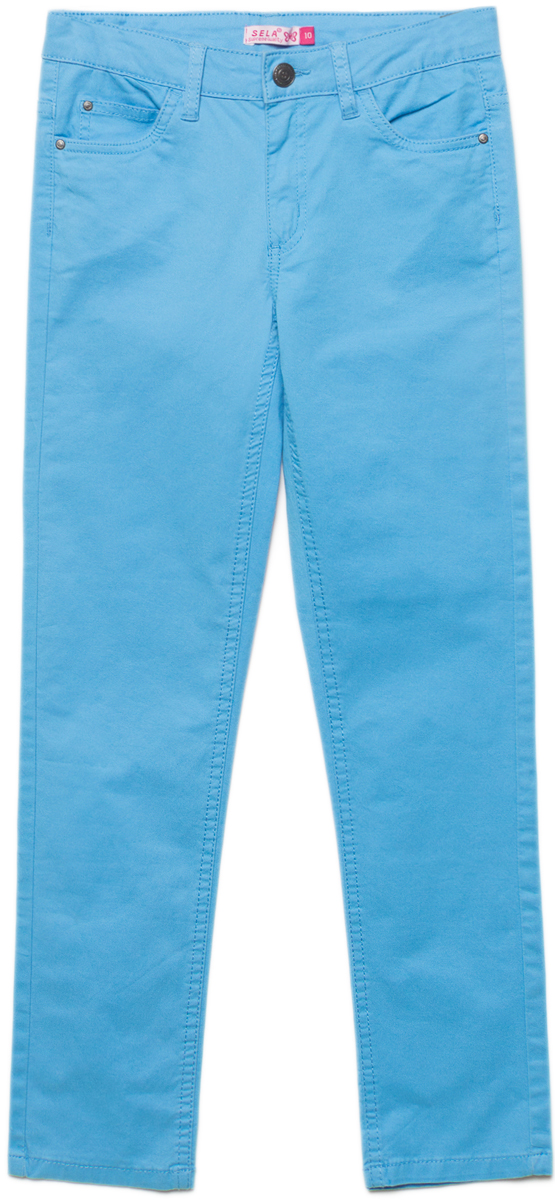 Брюки для девочки Sela, цвет: голубой. P-615/1050-8161. Размер 152, 12 лет брюки для девочки sela цвет фиолетово синий p 615 1050 8161 размер 152 12 лет