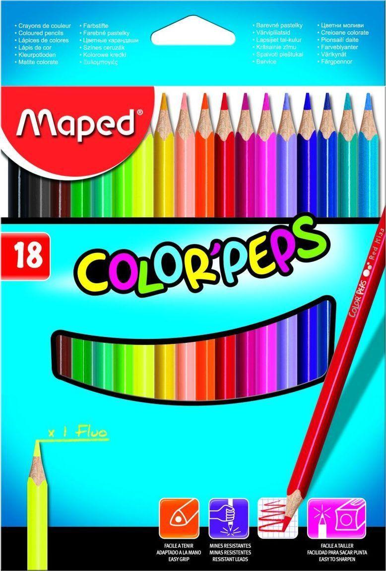 Maped Набор цветных карандашей Color Pep's 18 цветов maped карандаши цветные color peps треугольные 12 цветов maped