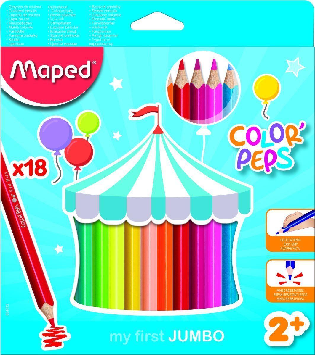 Maped Набор цветных карандашей Color Peps Jumbo 18 цветов834012Карандаши цветные из американской липы серии COLOR PEPS JUMBO. Эргономичная треугольная форма. В наборе 18 цветов в картонном футляре. Ударопрочный грифель. Серия разработана для малышей - упаковка отличается особой графикой. 2+. Карандаши суперяркие, корпус большого диаметра специально для детской руки. Толстый грифель диаметром 4,7 мм. Идеально подходит для рисования, раскрашивания и живописи, абсолютно безопасно для детей. Карандаши легко точатся. Плотное закрашивание - отличный вариант для раскрасок!