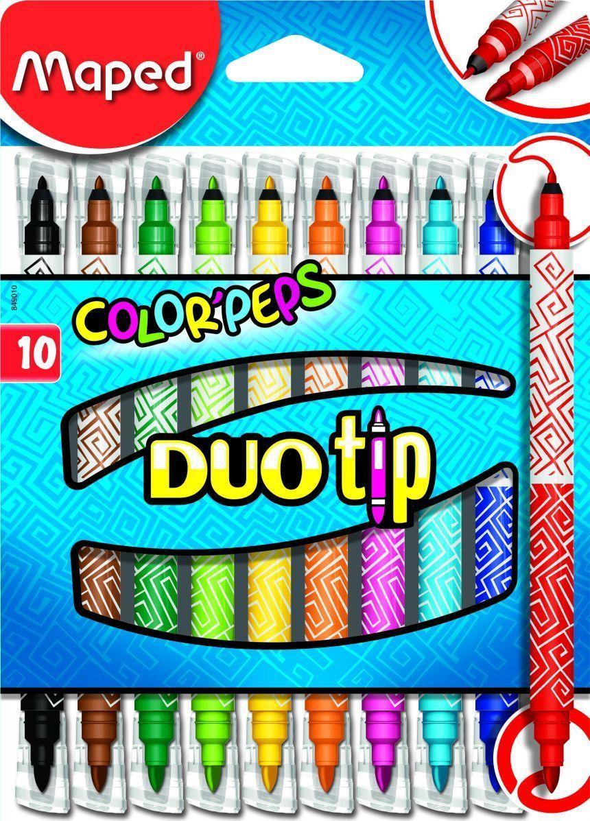 Maped Набор фломастеров 06-24 цвета Color Pep's Duo Tip 10 цветов -  Фломастеры