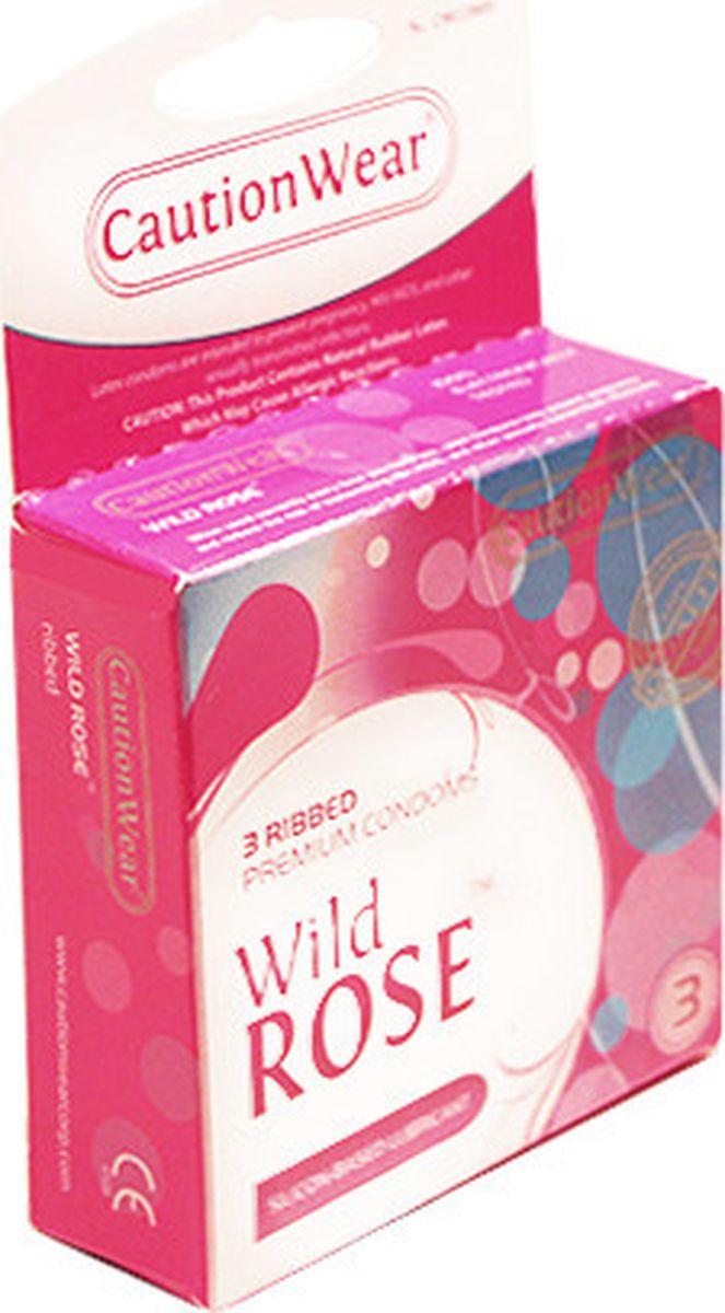 CautionWear Wild Rose Презервативы Премиум, рифленные, с натуральным лубрикатом, 3 шт вагинально клиторальный вибромассажер brighty