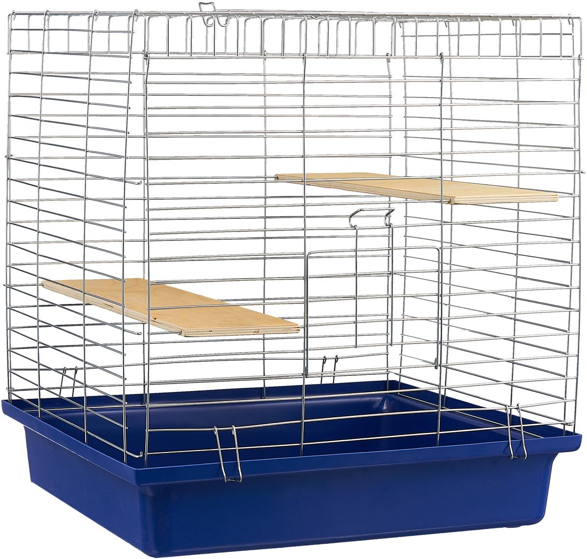 Клетка для шиншилл Велес Lusy Jerry, разборная, цвет: синий, 56 х 50 х 60 см клетка для грызунов велес lusy hamster 2 2 этажная цвет синий бирюзовый 35 х 26 х 26 см