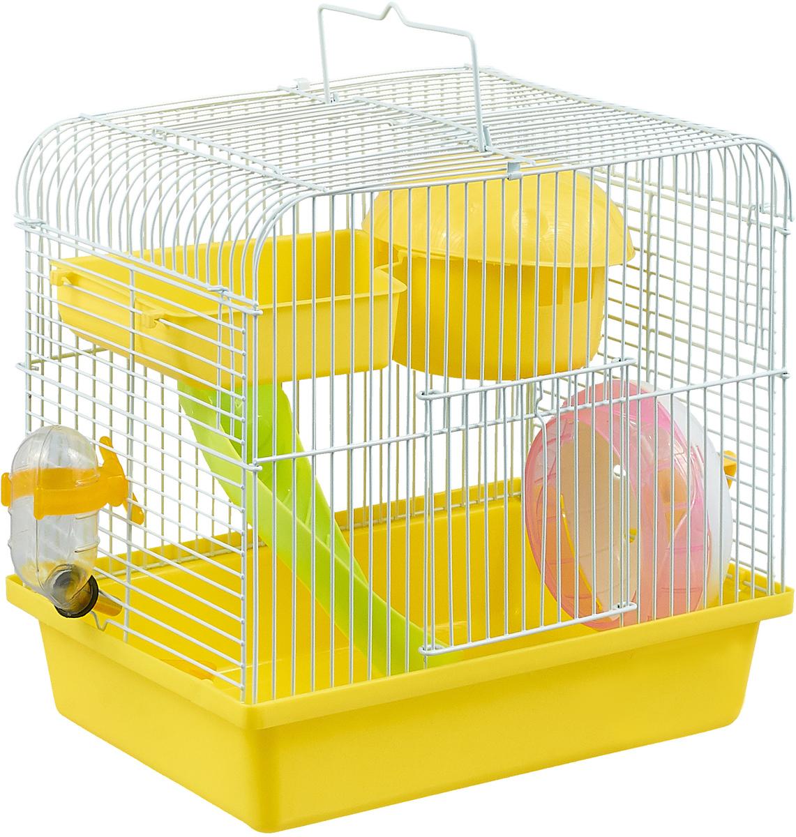 Клетка для хомяка №1, прямоугольная, укомплектованная, цвет: желтый, 27 х 20,5 х 25,5 см эспандер лыжника пловца starfit es 901 цвет желтый 0 6 х 0 9 х 140 см 2 кг