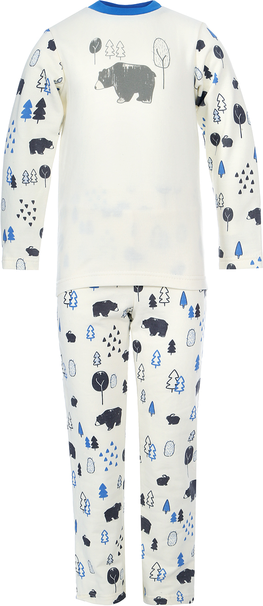 Пижама для мальчика КотМарКот, цвет: белый, голубой, коричневый. 16818. Размер 11016818Пижама для мальчика КотМарКот состоит из футболки с длинным рукавом и брюк. Выполненная из натурального хлопка, она мягкая и легкая, не сковывает движения, хорошо пропускает воздух.Футболка с длинными рукавами и круглым вырезом горловины имеет застежки-кнопки по плечевому шву, что помогает с легкостью переодеть ребенка. Брюки прямого кроя на талии имеют эластичную резинку.Пижама оформлена принтом.В такой пижаме ваш ребенок будет чувствовать себя комфортно и уютно во время сна.