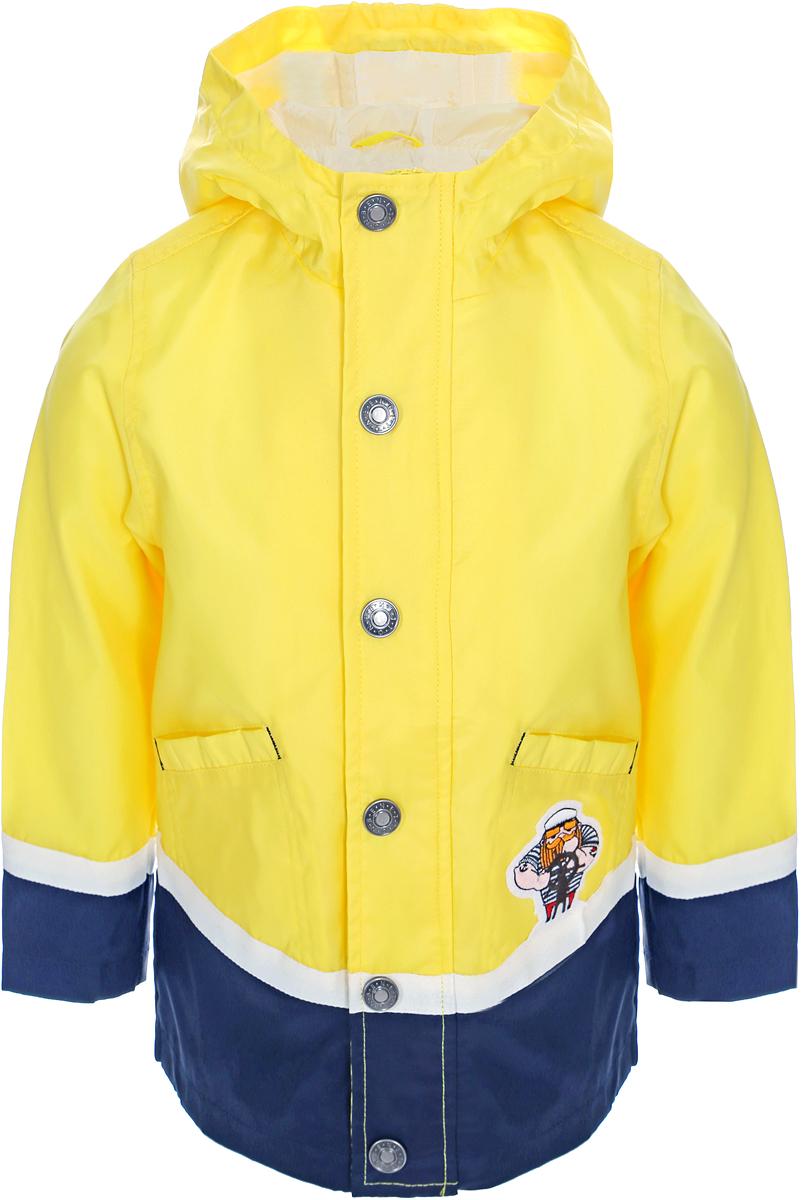 Куртка для мальчика United Colors of Benetton, цвет: желтый. 2EH85323P_35R. Размер 1102EH85323P_35RЛегкая куртка от United Colors of Benetton выполнена из нейлона с полиуретановой пропиткой. Модель с длинными рукавами и капюшоном застегивается на кнопки, по бокам дополнена втачными карманами.