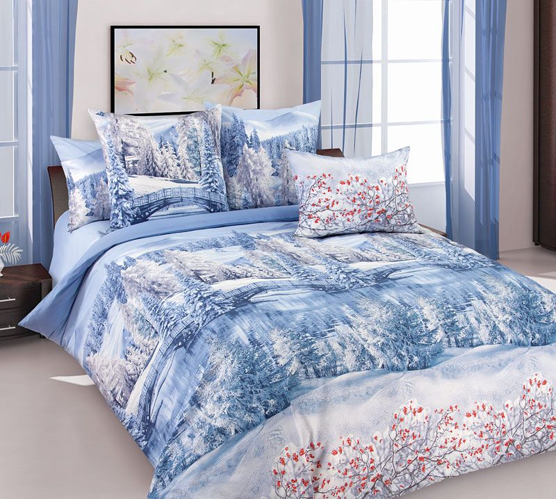 Комплект белья Текс Дизайн Зима, 2-спальный, наволочки 70x70. 2100Б комплект белья текс дизайн леопард 2 спальный наволочки 70x70 2100б