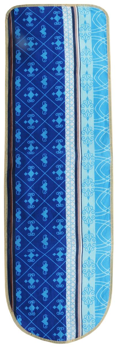"""Чехол для гладильной доски """"Eva"""", с поролоном, цвет: синий, голубой, белый, 120 х 38 см"""