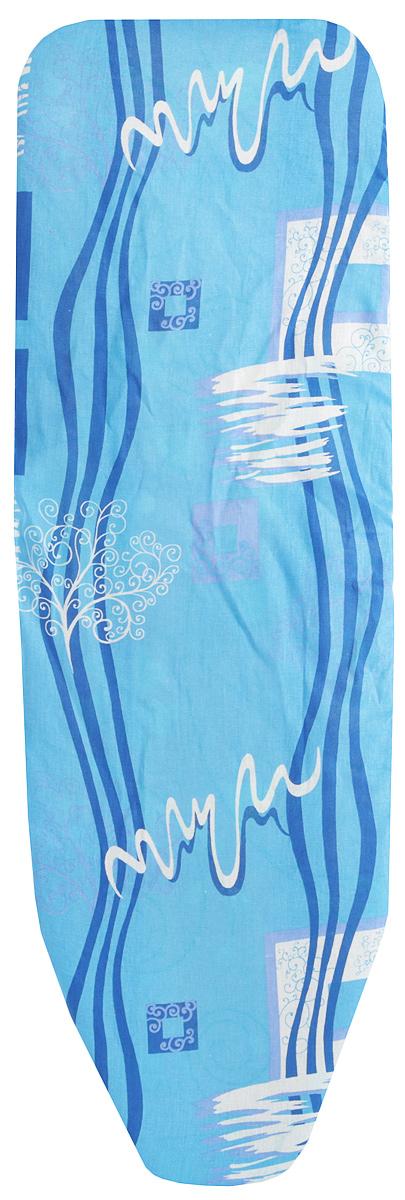 Чехол для гладильной доски Eva, с поролоном, цвет: голубой, белый, синий, 129 х 45 смЕ1303_голубой, белый, синийЧехол для гладильной доски Eva, с поролоном, цвет: голубой, белый, синий, 129 х 45 см
