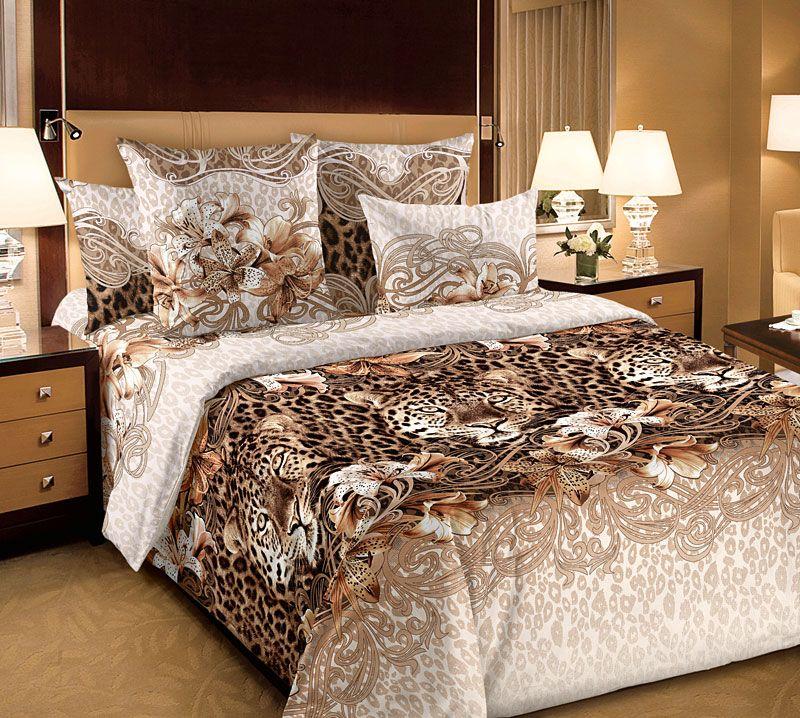 Великолепный бязевый комплект постельного белья «Леопард» станет достойным дополнением элегантной спальни или гостиничного номера.  Элегантный рисунок с изображением леопардов располагается на спокойном и универсальном бежевом фоне. Данный набор постельного белья  является воплощением элегантности и высокого стиля.  Бязь - хлопчатобумажная плотная ткань полотняного переплетения. Отличается прочностью и стойкостью к многочисленным стиркам. Бязь  считается одной из наиболее подходящих тканей, для производства постельного белья и пользуется в России большим спросом.