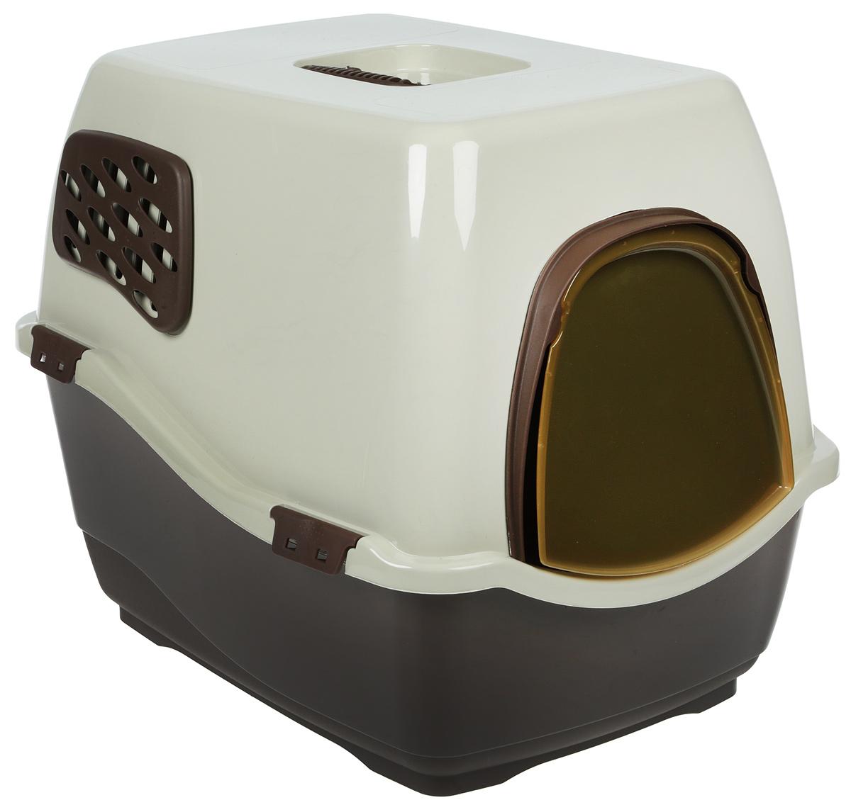 Био-туалет для животных Marchioro Bill 1F, цвет: серый, коричневый, 50 х 40 х 42 см лежанка для животных добаз цвет светло розовый серый 65 х 65 х 20 см