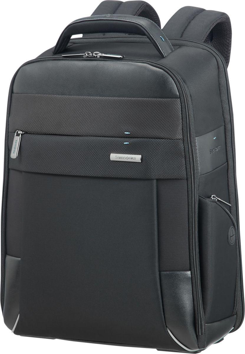 Рюкзак для ноутбука мужской Samsonite, цвет: черный, 14,1. CE7-09006CE7-09006Рюкзак для ноутбука Samsonite предназначен для активных людей. Выполнен из 55% полиэстера, 40% нейлона, 5% полиуретана. Рюкзак оснащенрегулируемым по размеру отделением для ноутбука, а плечевые ремни дополнены мягкими силиконовыми вставками, снижающими травматизмво время использования. Рюкзак можно прикрепить к выдвижной ручке чемодана или кейса на колёсах.Особенности: Внутренний карман;Несколько отделений для визитных и кредитных карт;Эргономичные лямки;Отделение для планшета;Органайзер для ручек;Карман для телефона;Возможность крепления на ручку чемодана;Отделение для ноутбука до 15,6; Для А4 документов.