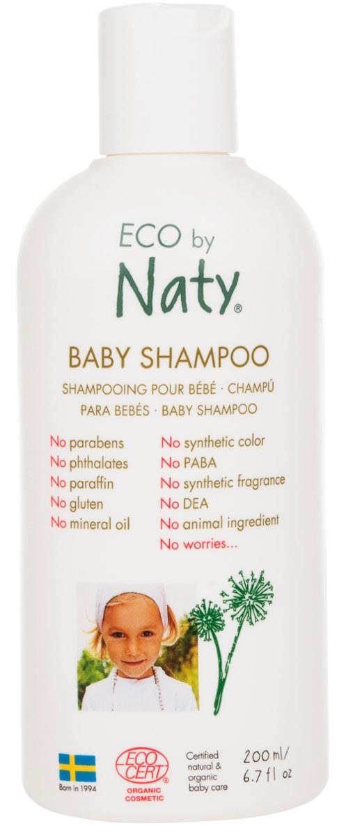 Naty Шампунь для волос детский, 200 мл7330933245579У детей, особенно новорожденных, как правило, очень чувствительные волосы и кожа.Eco by Naty представляет сертифицированный органический ультра-мягкий детский шампунь с pH-нейтральным составом. Деликатно очищает волосы малыша, оставляя их мягкими и чистыми. Секрет заключается в кокосовых маслах и соке листьев алоэ Барбаденсис.Знаете ли вы, что они содержат до 75 различных природных питательных витаминов?