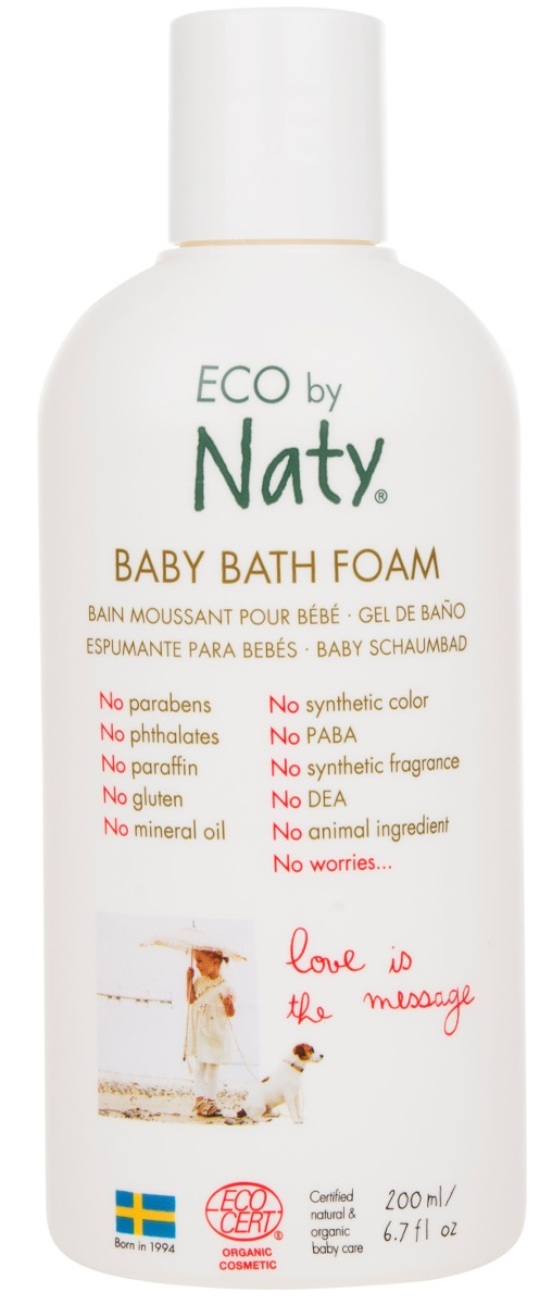 Naty Пена для ванны детская, 200 мл7330933245586У детей, особенно новорожденных, как правило, очень чувствительные волосы и кожа.Eco by Naty представляет сертифицированный органический ультра-мягкий детский шампунь с pH-нейтральным составом. Деликатно очищает волосы малыша, оставляя их мягкими и чистыми. Секрет заключается в кокосовых маслах и соке листьев алоэ Барбаденсис.Знаете ли вы, что они содержат до 75 различных природных питательных витаминов?