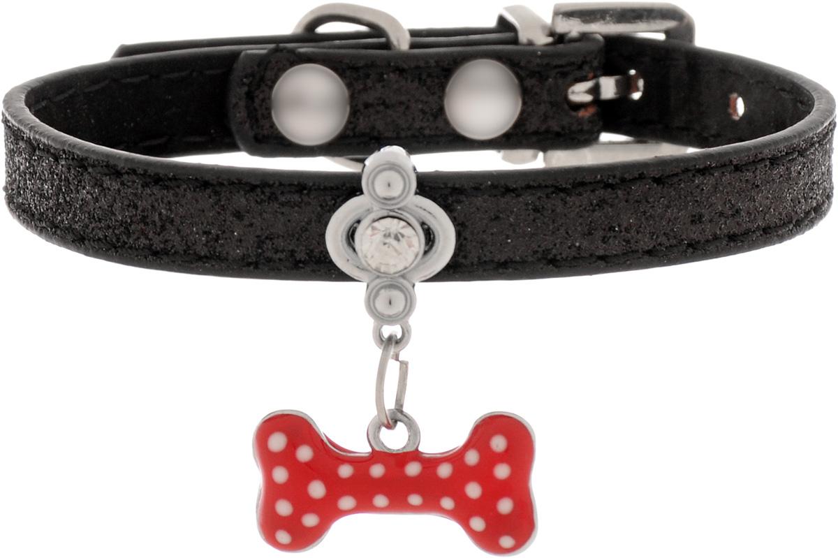 Ошейник для котов и собак GLG, с кулоном, цвет: черный, 25 смAMC109_черныйОшейник для котов и собак GLG, с кулоном, цвет: черный, 25 см