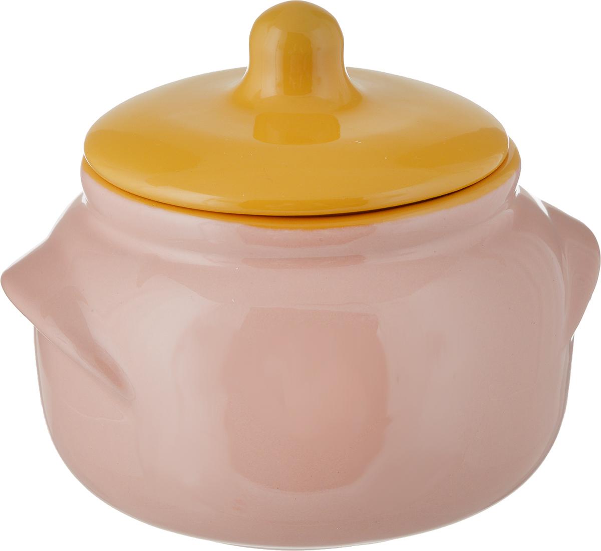 Горшочек для запекания Борисовская керамика Новарусса, цвет: розовый, желтый, 500 мл горшочек для запекания борисовская керамика мечта хозяйки цвет сиреневый 350 мл