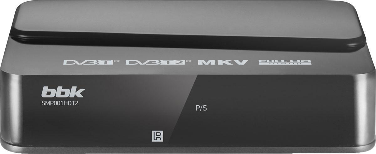 BBK SMP001HDT2, Dark Grey цифровой ТВ-ресиверSMP001HDT2Цифровой телевизионный ресивер BBK SMP001HDT2 предназначен для приема каналов цифрового эфирного телевидения стандартов DVB-T, DVB-T2 MPEG-2/MPEG-4 и радио, а также обладает возможностями медиаплеера с поддержкой формата MKV. Функция EPG (Electronic Program Guide) позволяет осуществить доступ к интерактивной программе передач — на экране телевизора высвечивается детальное расписание. Для просмотра любимой передачи в отложенном режиме реализован режим ТаймШифт, а функция PVR осуществит запись на внешний USB-носитель, подключенный к ресиверу, с дальнейшим его воспроизведением.