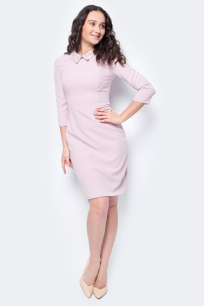 Платье Lusio, цвет: розовый. AW18-020184. Размер L (46/48)AW18-020184Элегантное платье от Lusio из высококачественного материла с добавлением вискозы. Модель облегающего кроя с рукавами 3/4 и отложным воротником на спинке застегивается на потайную молнию. Воротник декорирован бисером.