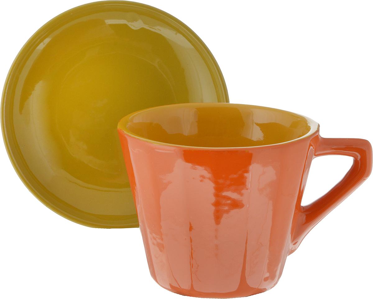 Чайная пара Борисовская керамика Ностальгия, цвет: оранжевый, горчичный, 200 мл картины в квартиру картина турецкая чайная церемония 2 35х45 см
