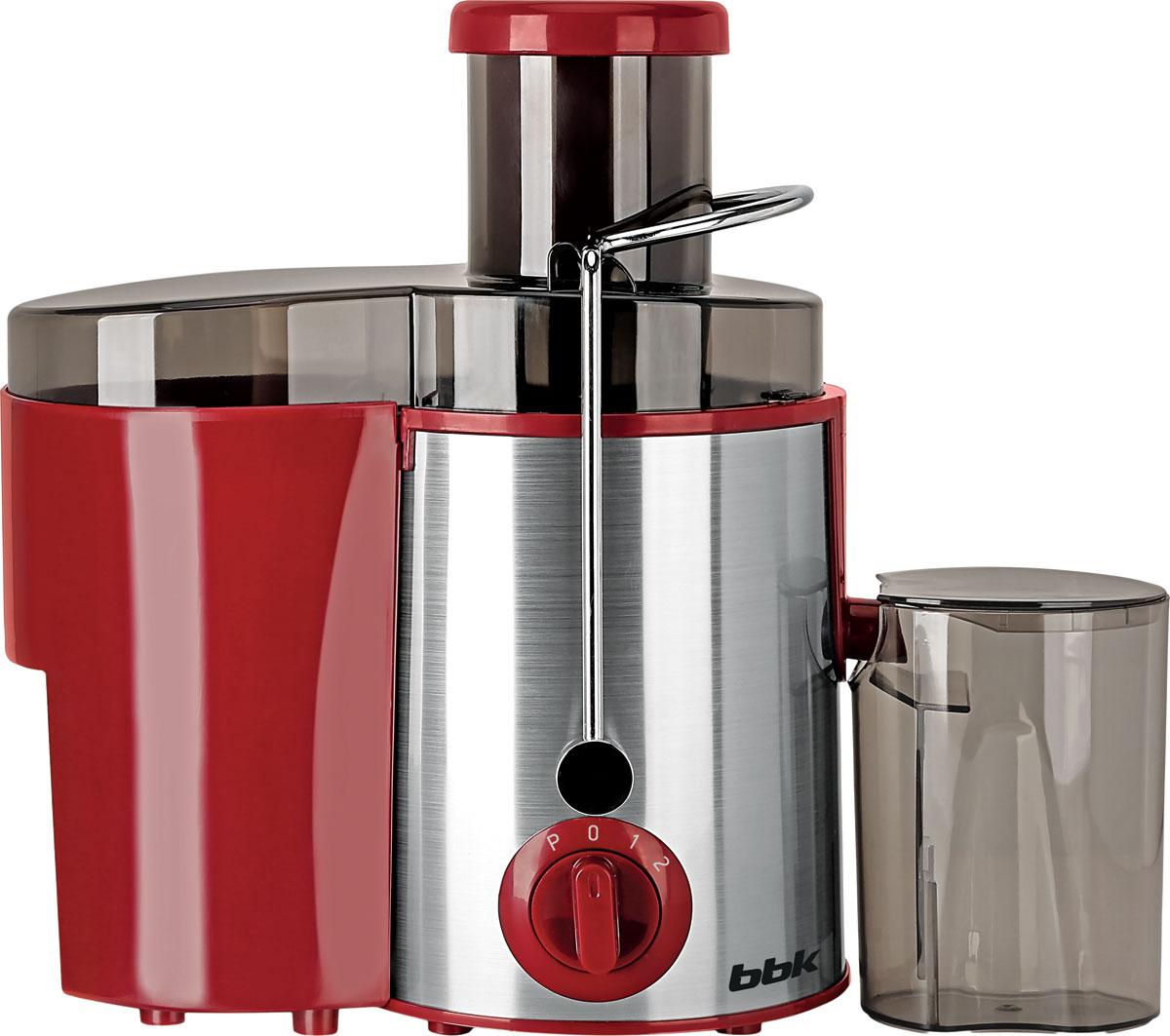 BBK JC080-H06, Red Silver соковыжималкаJC080-H06Соковыжималка BBK JC080-H06 станет отличным помощником на любой кухне. Высокая номинальная мощность 800 Вт и широкая загрузочная горловина 65 мм позволяют с легкостью справиться с целыми яблоками и крупными кусочками овощей и фруктов. Стальной фильтр-сепаратор с лезвиями из высококачественной стали обеспечит надежную, качественную и безотказную работу устройства. Прорезиненные ножки обеспечивают устойчивость и отсутствие скольжения в процессе работы. Для комфортного использования в комплекте предусмотрены специальные емкости для жмыха и сока. Модель представлена в классических стильных цветах, сочетающих цветные пластиковые элементы и вставки из нержавеющей стали.