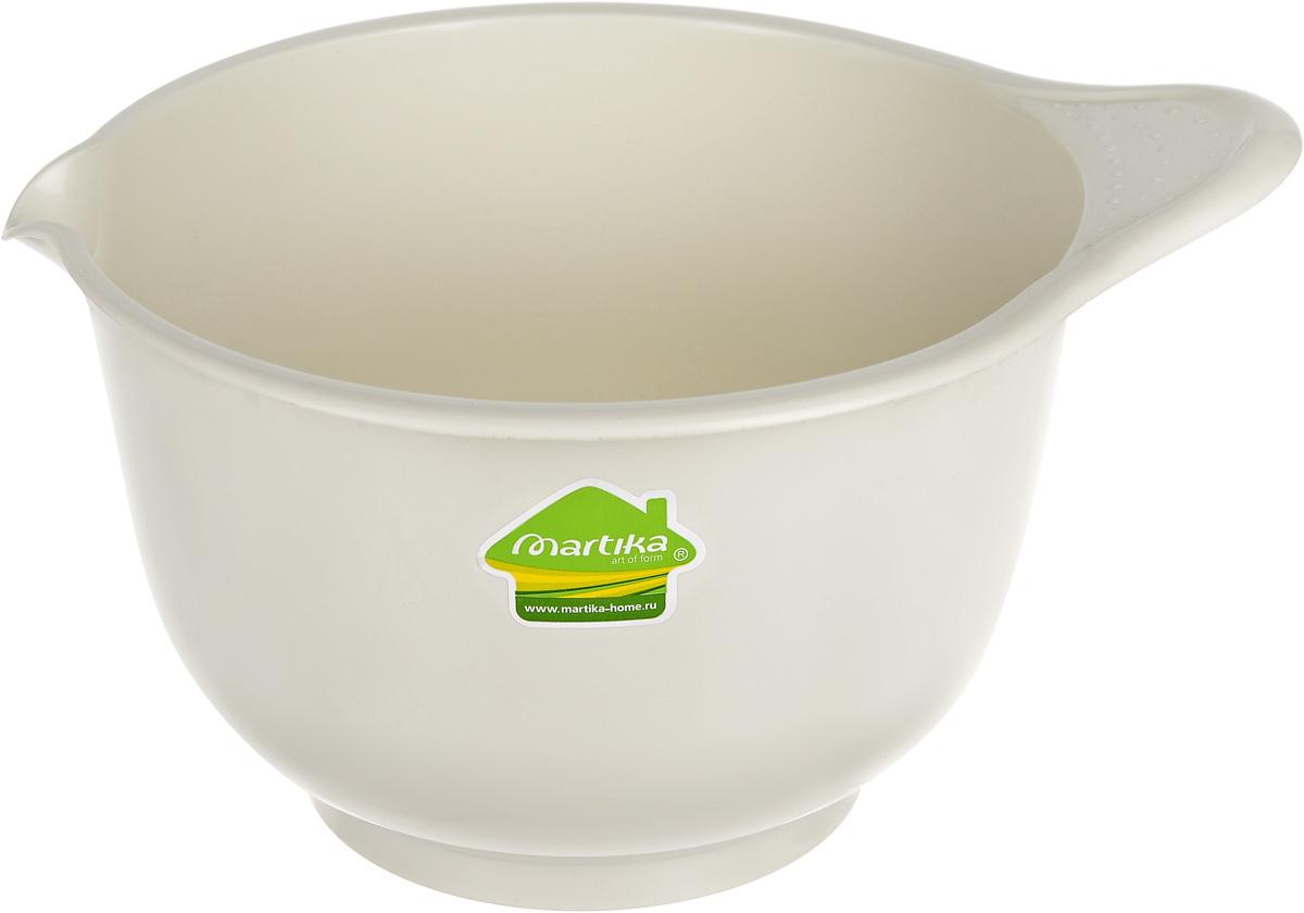 """Миска для миксера Мартика """"Мадена"""" изготовлена из прочного пищевого  пластика, имеет круглую форму. Благодаря высоким стенкам и удобной ручке в  такой миске очень удобно смешивать продукты миксером. Носик поможет  аккуратно вылить жидкость.  Такая миска пригодится в любом хозяйстве, ее также можно использовать для  хранения и сервировки различных пищевых продуктов.  Можно мыть в посудомоечной машине."""