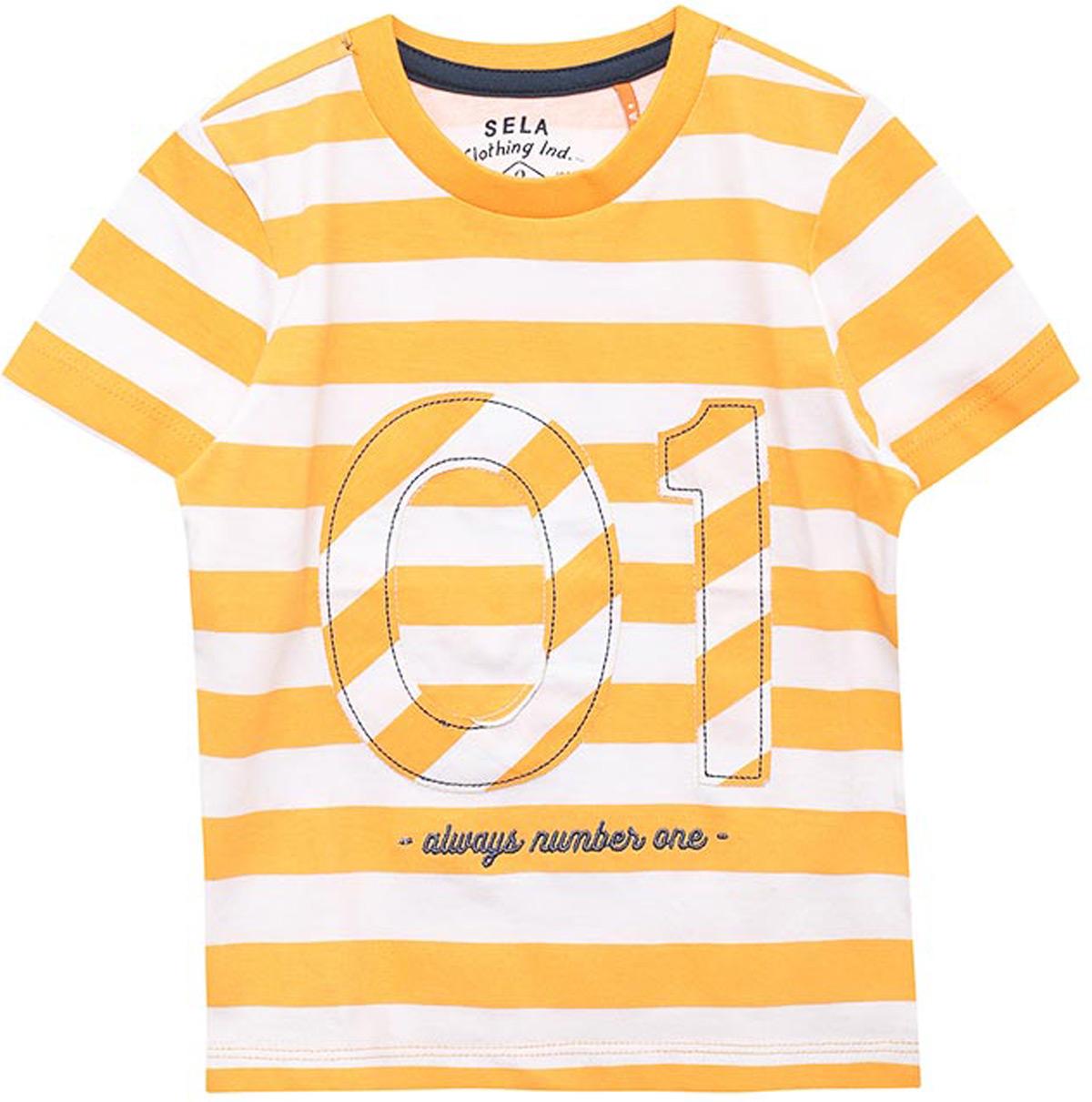 Футболка для мальчика Sela, цвет: банановый. Ts-711/538-8121. Размер 116, 6 лет футболка для мальчика sela цвет белый ts 711 567 8234 размер 116 6 лет