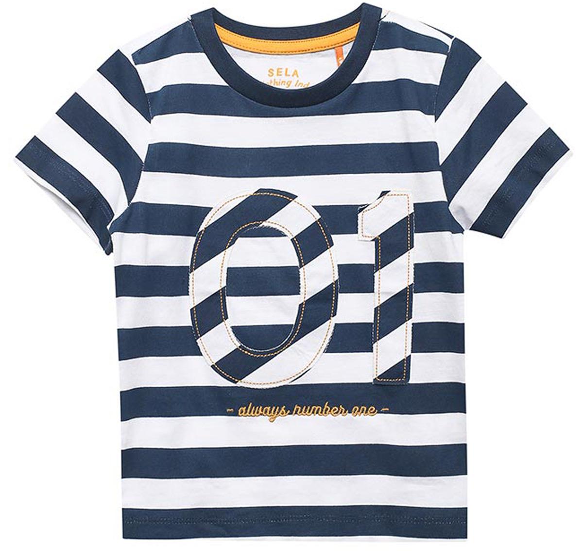 Футболка для мальчика Sela, цвет: темно-синий. Ts-711/538-8121. Размер 110, 5 лет