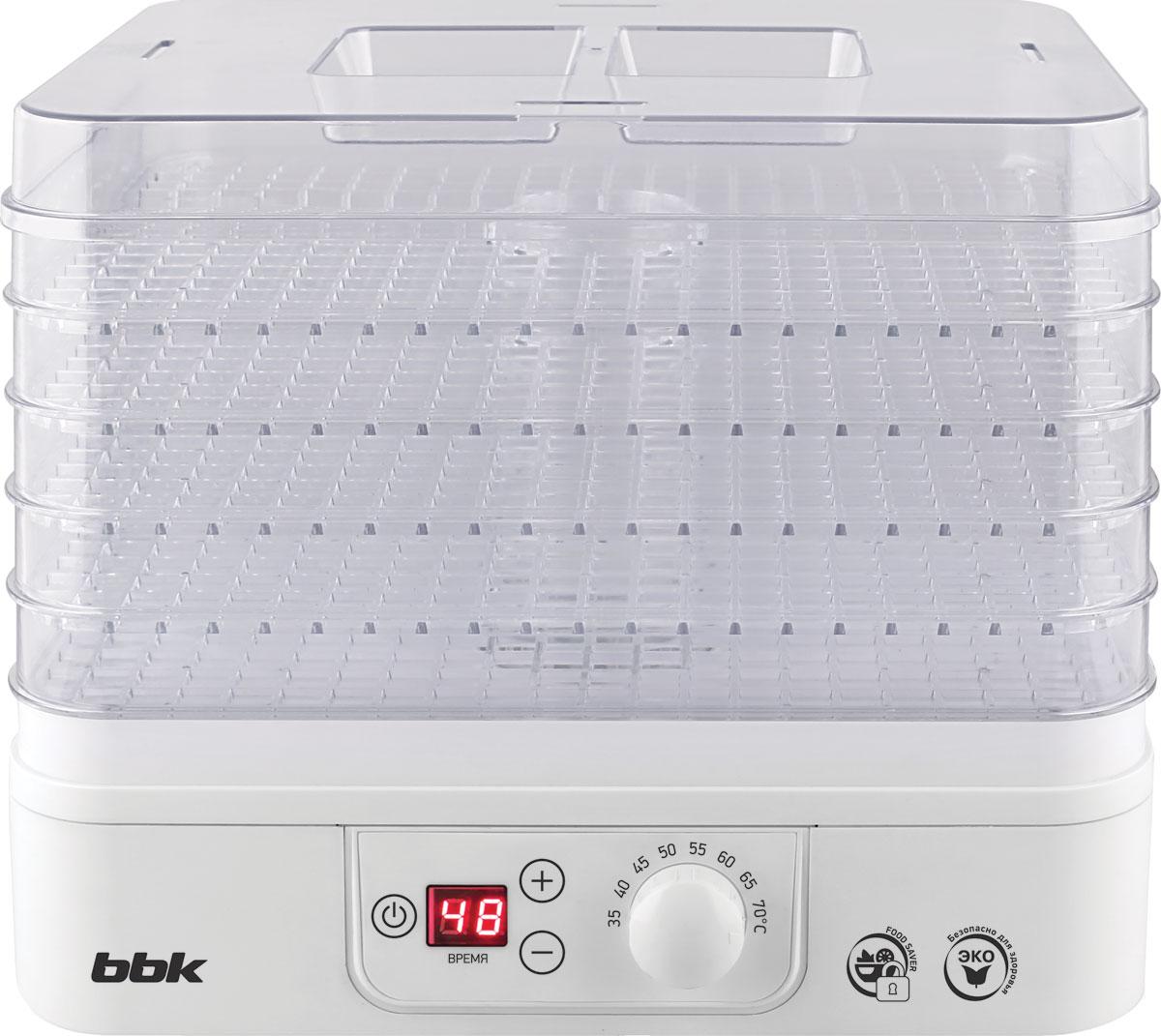 Универсальная сушка для овощей и фруктов BBK BDH303D с удобной панелью правления станет отличным помощником на любой кухне. Корпус из прозрачного термостойкого пластика, регулировка температуры, фен для равномерного  распределения воздушного  потока - все это обеспечивает легкое и комфортное использование устройства. Для индикации времени сушки на фронтальной панели устройства расположен дисплей.